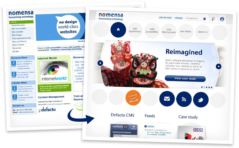 The old and new Nomensa website designs, side by side
