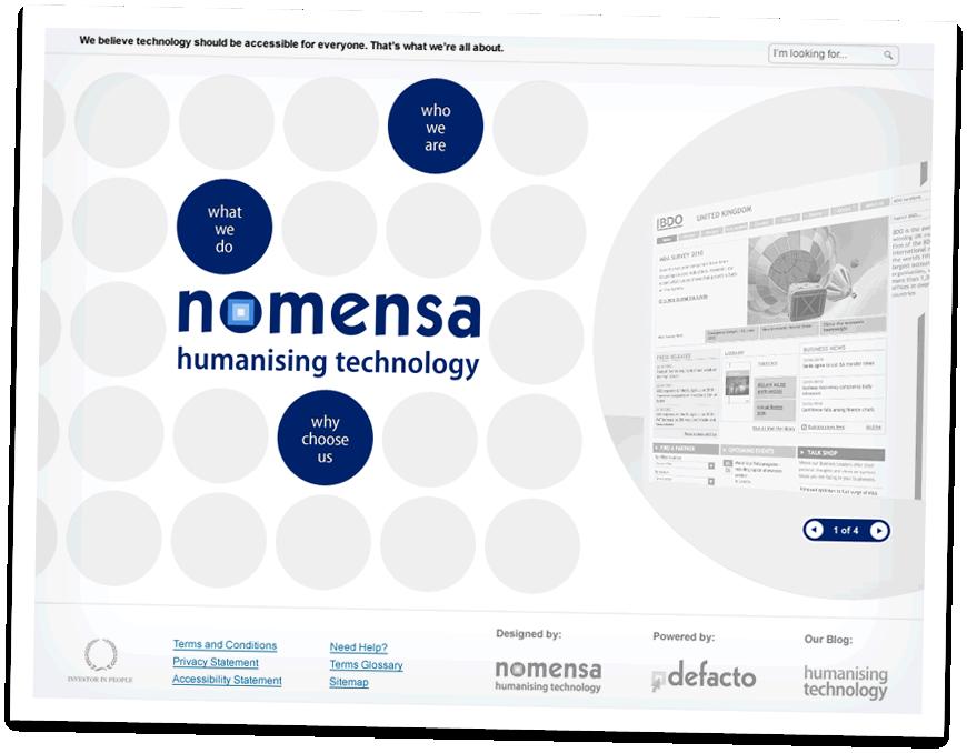 The first concept design for the new Nomensa design