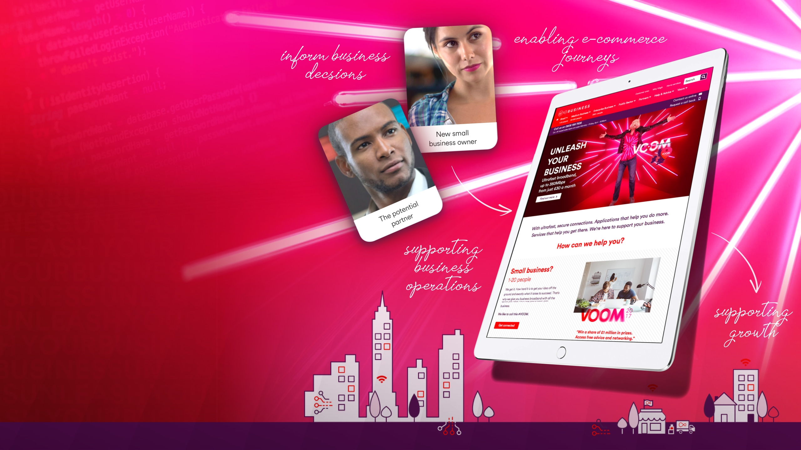 Red background with Virgin Media Business website displayed on an ipad