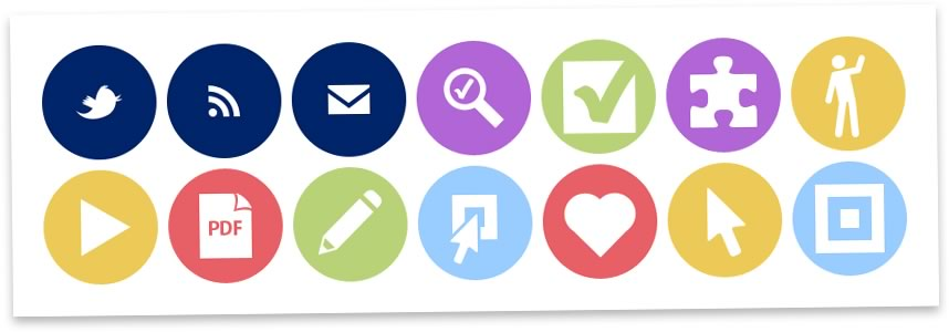 A sample of icons used on the new Nomensa design