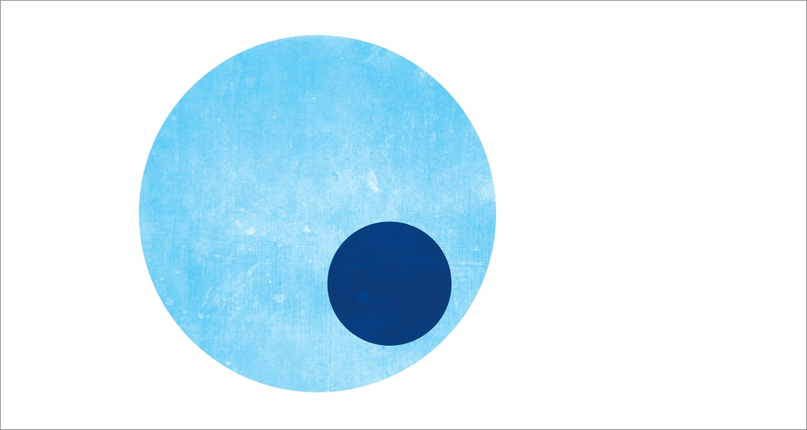 A light blue circle with a smaller circle inside it