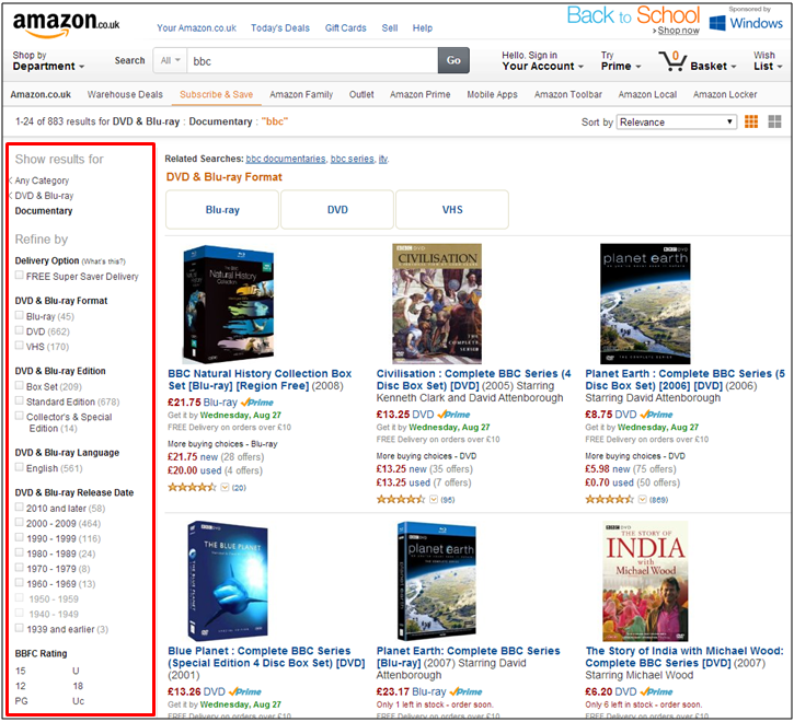 Amazon results page with the categories and facets highlighted