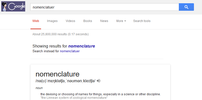 Screenshot of Google search result with spelling correction automatically completed