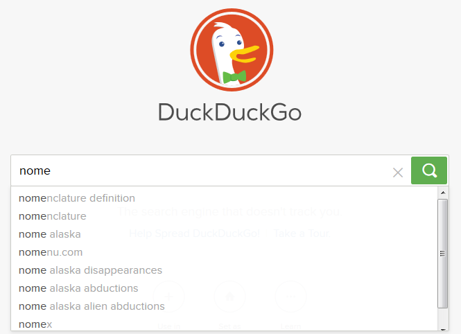 Screenshot of DuckDuckGo search with auto complete activated