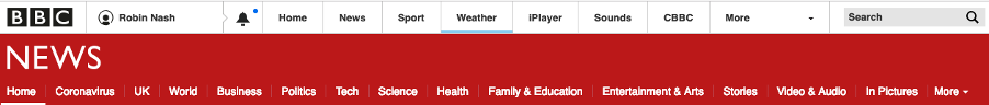 BBC News website header. Search is positioned in the top right
