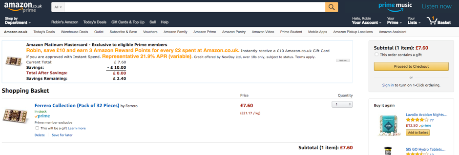 Screengrab of chocolates added to Amazon basket