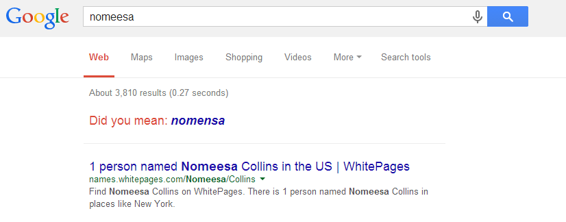 Screenshot of Google search with correction on spelling
