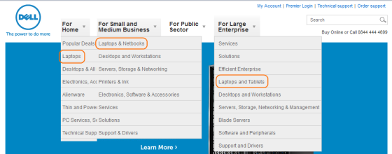 Screenshot from the Dell UK website with three sub-menus shown, all with a laptop option.