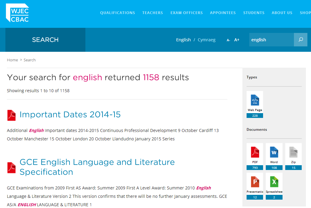 Screenshot of WJEC site with icons to represent document type