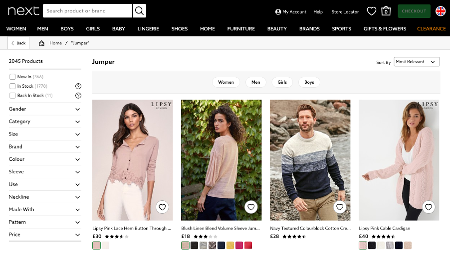 4 results for the word 'Jumper'. The results include 3 women and 1 man, all of whom wear jumpers. Below 3 images are small colour/texture swatches for the jumpers.'
