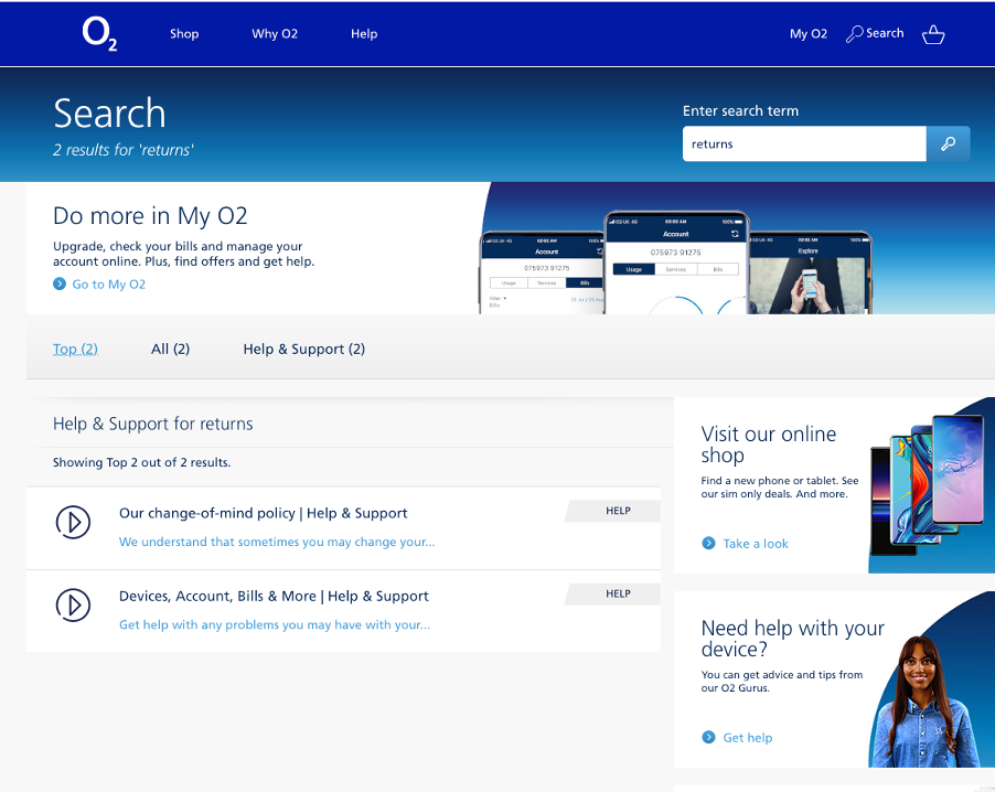 O2 search results page for the term 'Returns'. The page shows 3 tabs: Top, All and Help & Support'. The Top tab is currently selected and 2 results listed both link to the Help and Support site section.