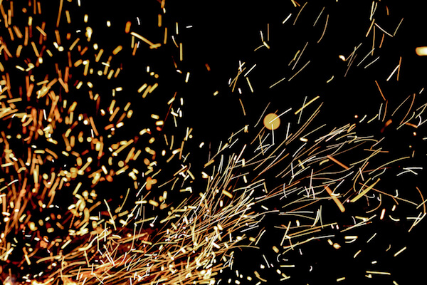 Photograph of sparks flying