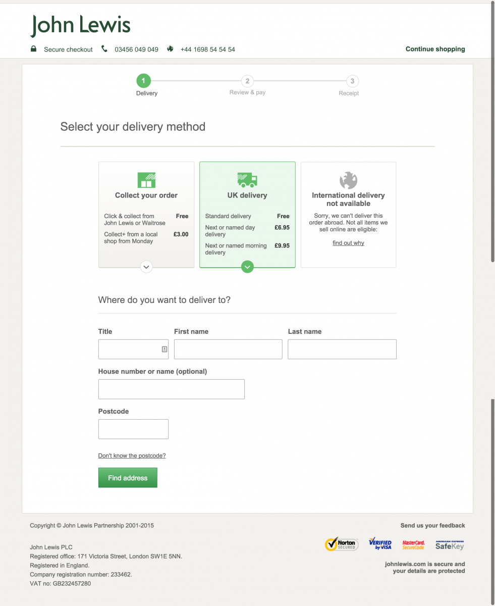 John Lewis's delivery page