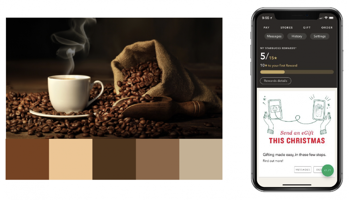 Coffee colours shown in Starbucks app