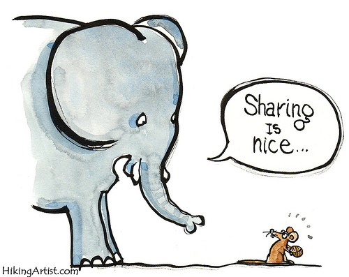 An elephant talking to a mouse about sharing being a nice thing to do