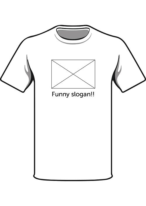 """Tshirt with """"funny slogan!"""" under a blank box"""