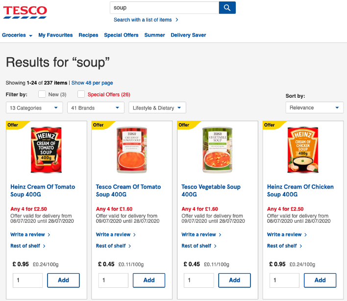 4 results for the search term 'Soup' all of which show the label 'Offer' and a button which reads 'Add'