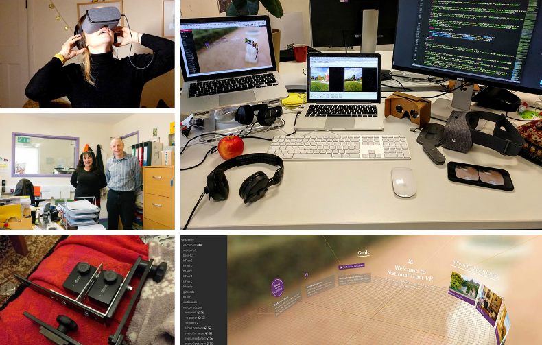Collage of the Nomensa team working on the VR project for National Trust