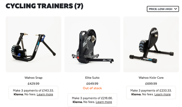Results for 3 cycling exercise machines. Below the second item the words 'Out of stock'