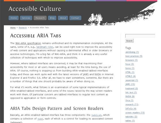 Screenshot of Jason's website Accessible Culture