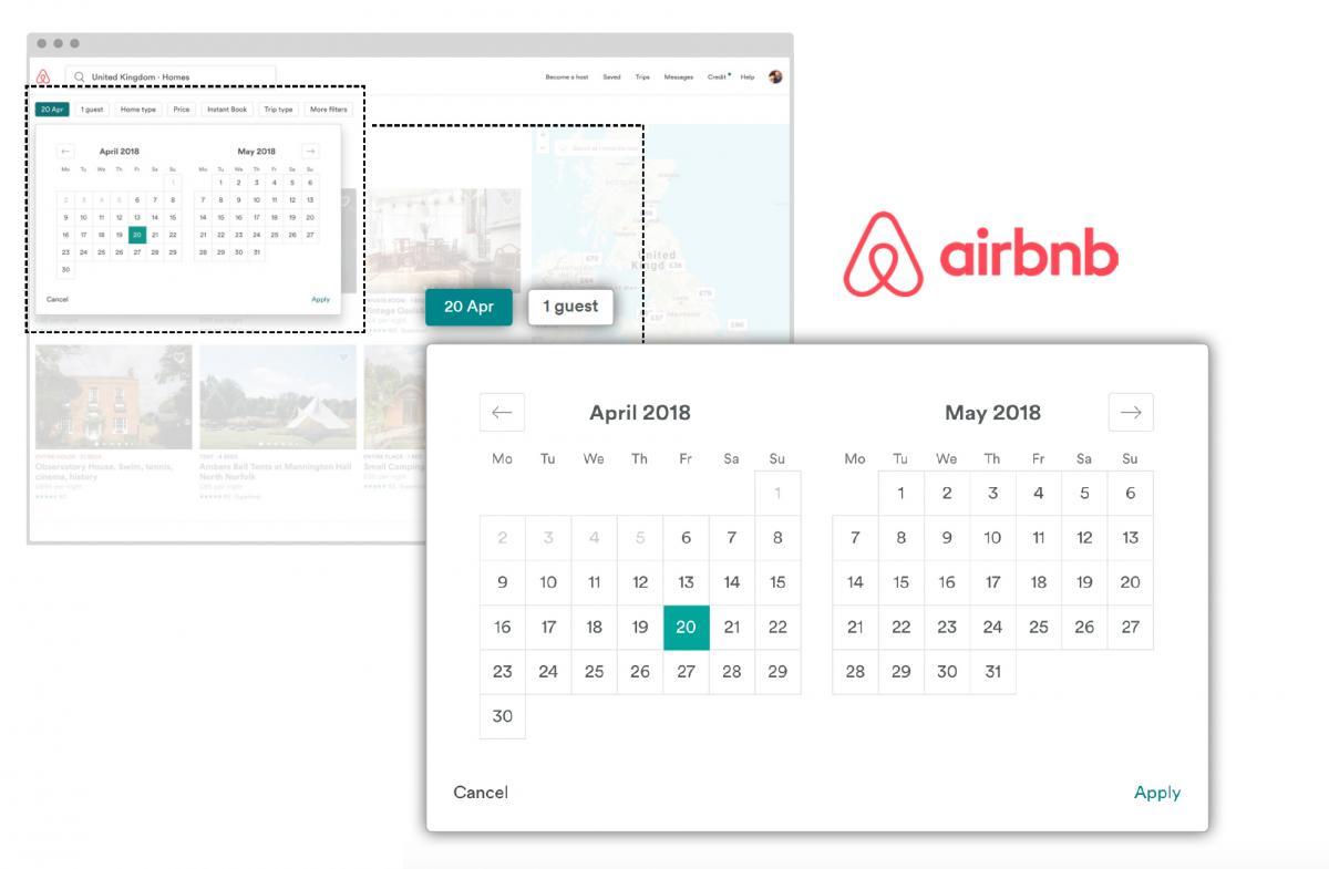 Screengrab showing Airbnb date picker