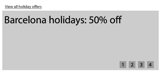 A wireframe showing a carousel with 4 holiday offers. Above the carousel is a link to 'view all holiday offers'.