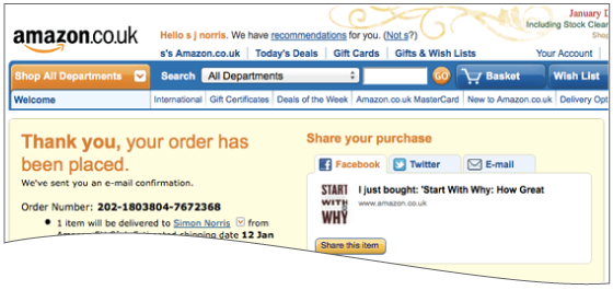 "An example from Amazon which reads ""thank you, your order has been placed""."