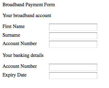 Form implemented using div and p elements as opposed to fieldset and legend tags