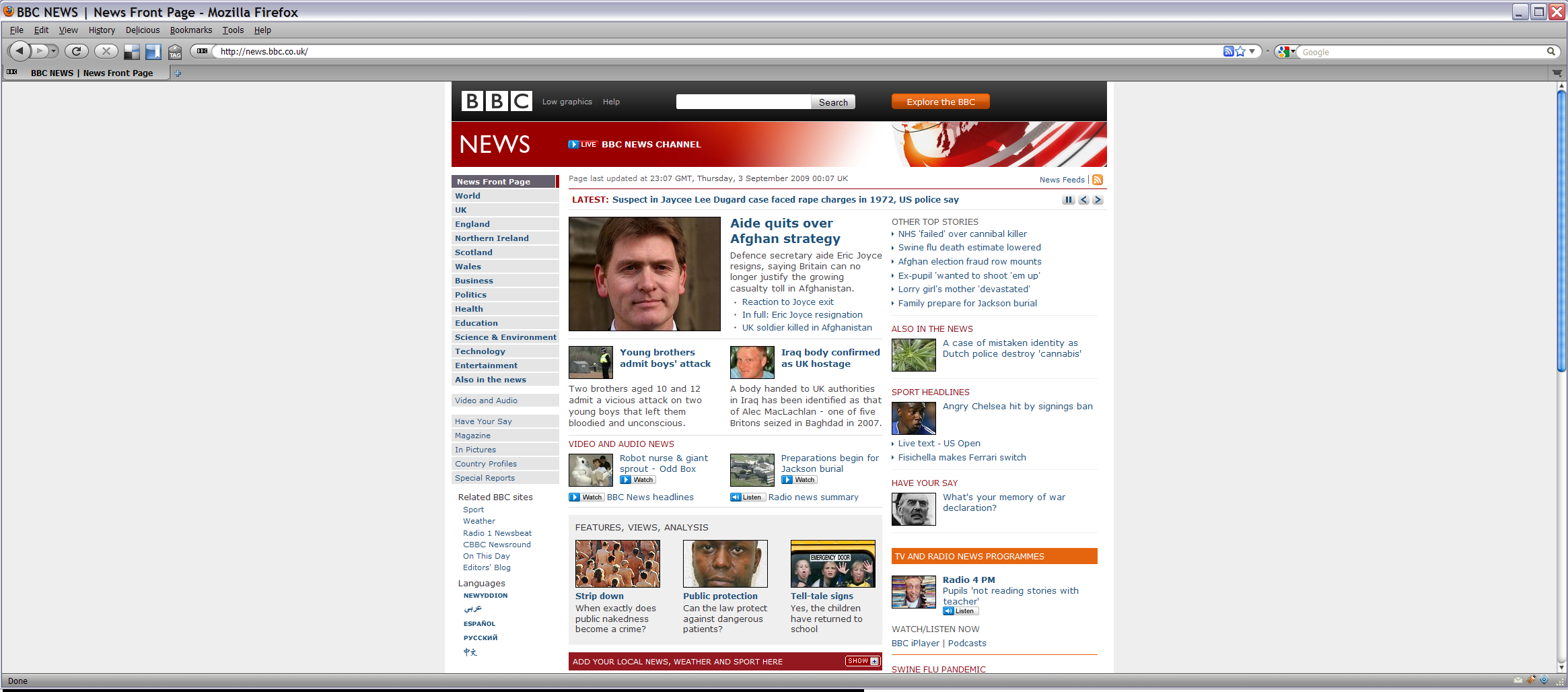 BBC news shown at a 2300 pixel wide resolution, lots of white space to the left and right of the content.