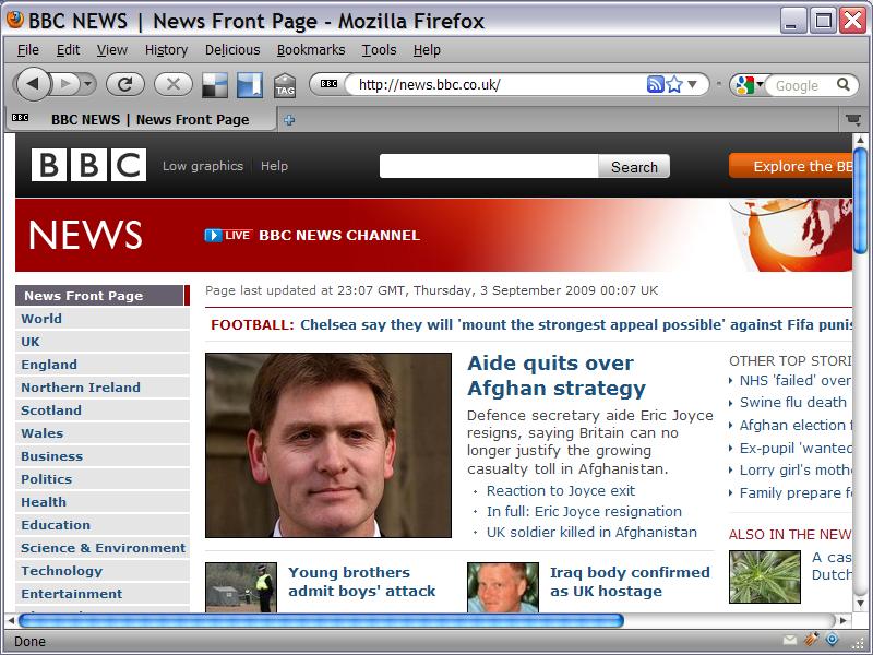 BBC news shown at 800 x 600 resolution.