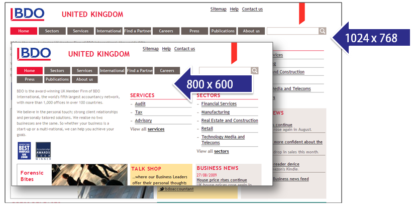 Two screenshot of a website at 800 and 1024 pixels wide. At the smaller size the main navigation wraps onto two lines.