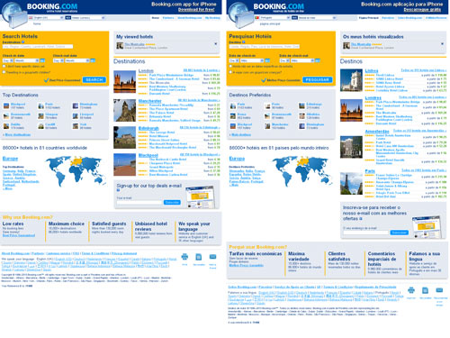 The Booking.com homepage shown in English and Portuguese