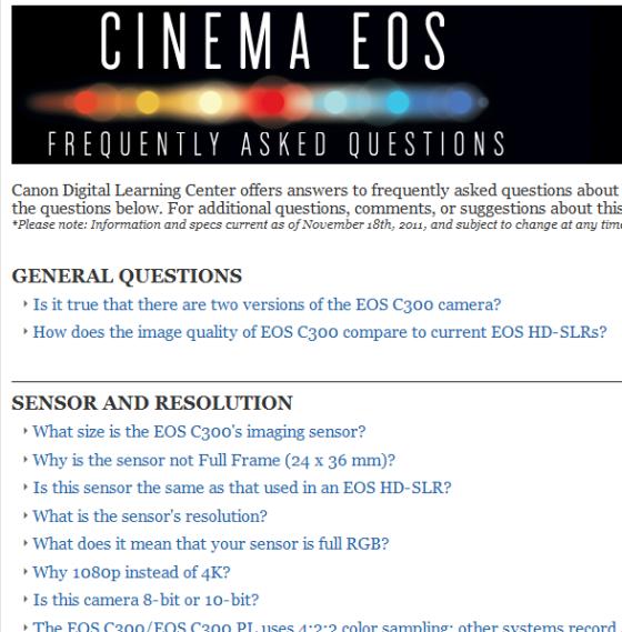 An FAQ page for Canon Cinema EOS.