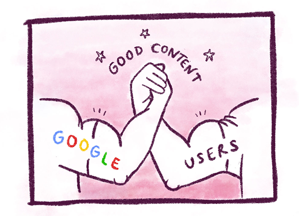 Illustration showing Google and users agreeing on what makes good content