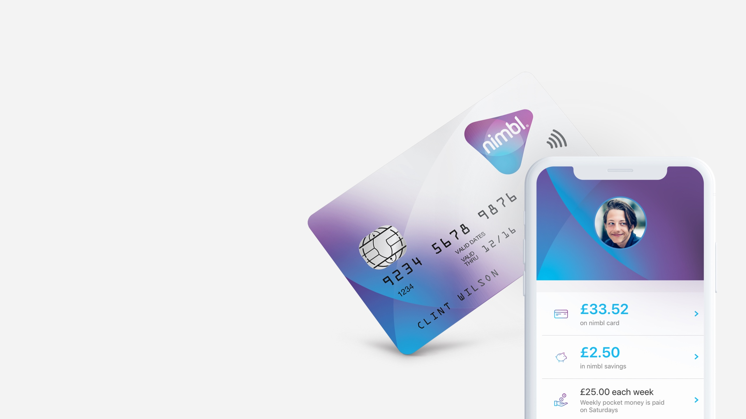Mobile screen of a personal payment page and a credit card