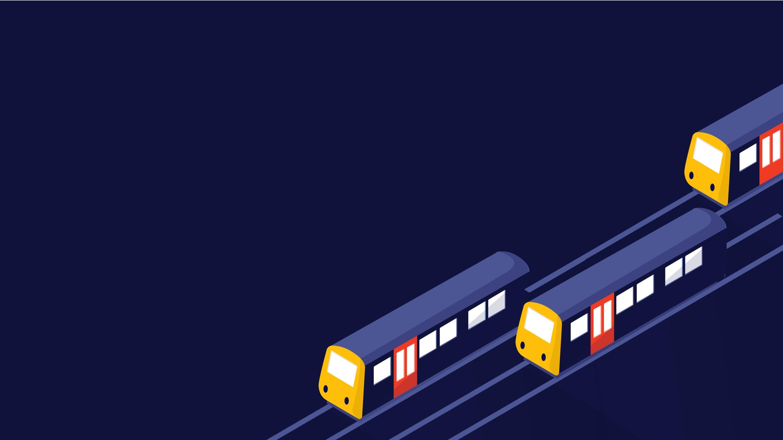 Illustration of three trains on the track