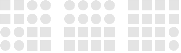 Diagram illustrating the gestalt principle of similarity using squares and circles. The visual system naturally groups the shapes into two categories, circles vs squares.