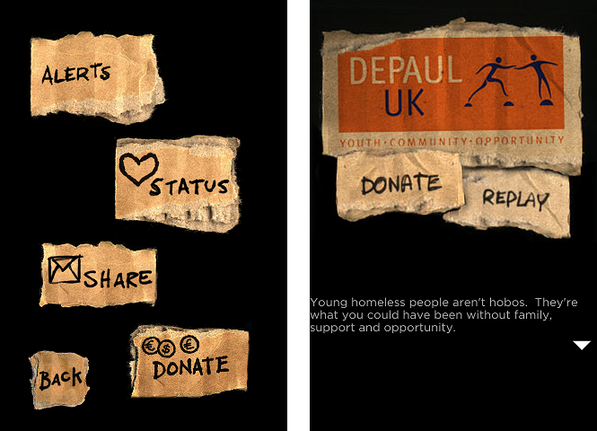 Screenshots of iHobo, presenting donation points at specific points in the gameplay
