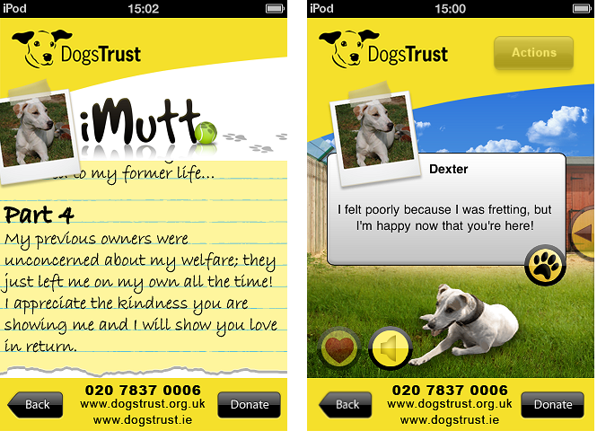 """Screenshots of iMutt, used to describe the excess of """"donate"""" buttons"""