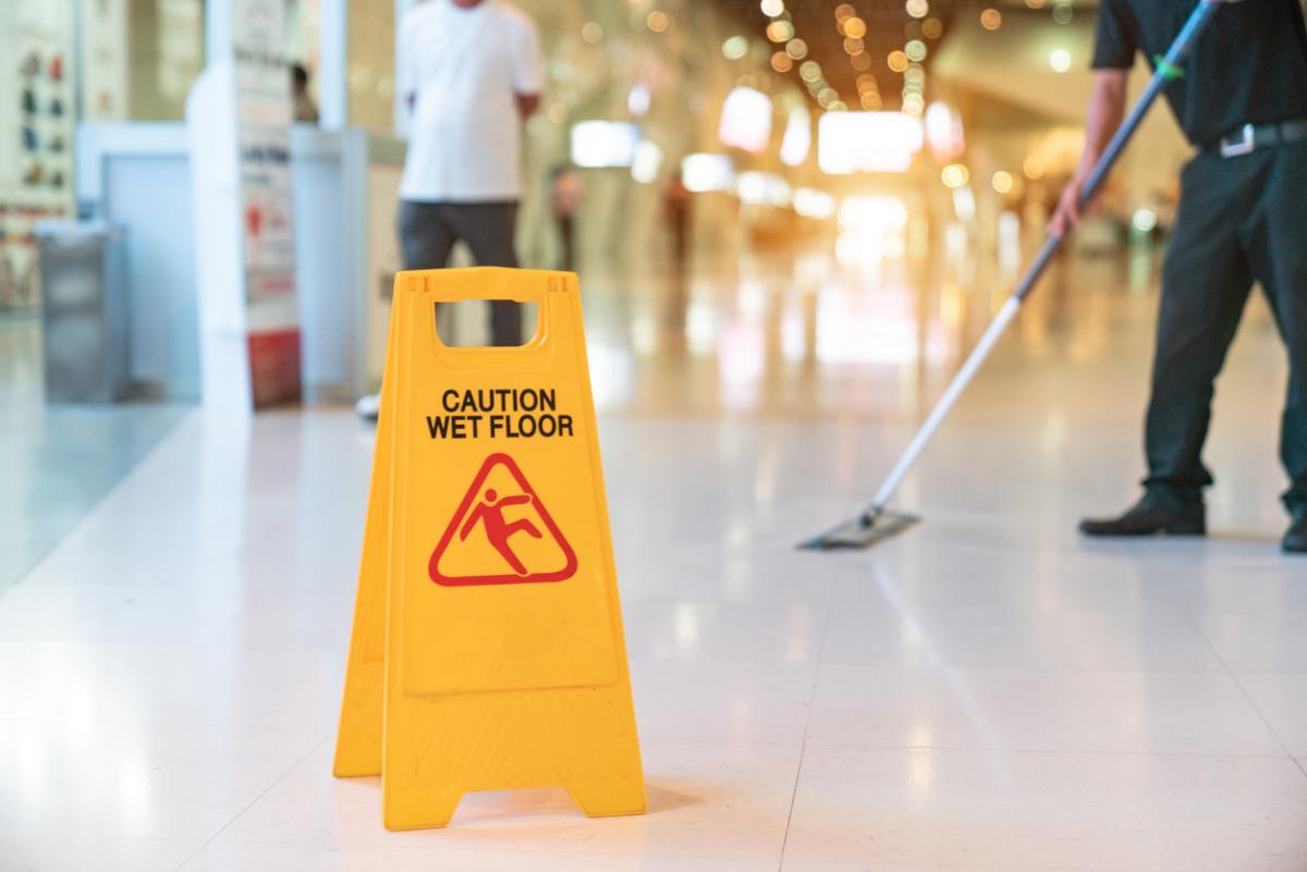Photo showing 'Caution wet floor'