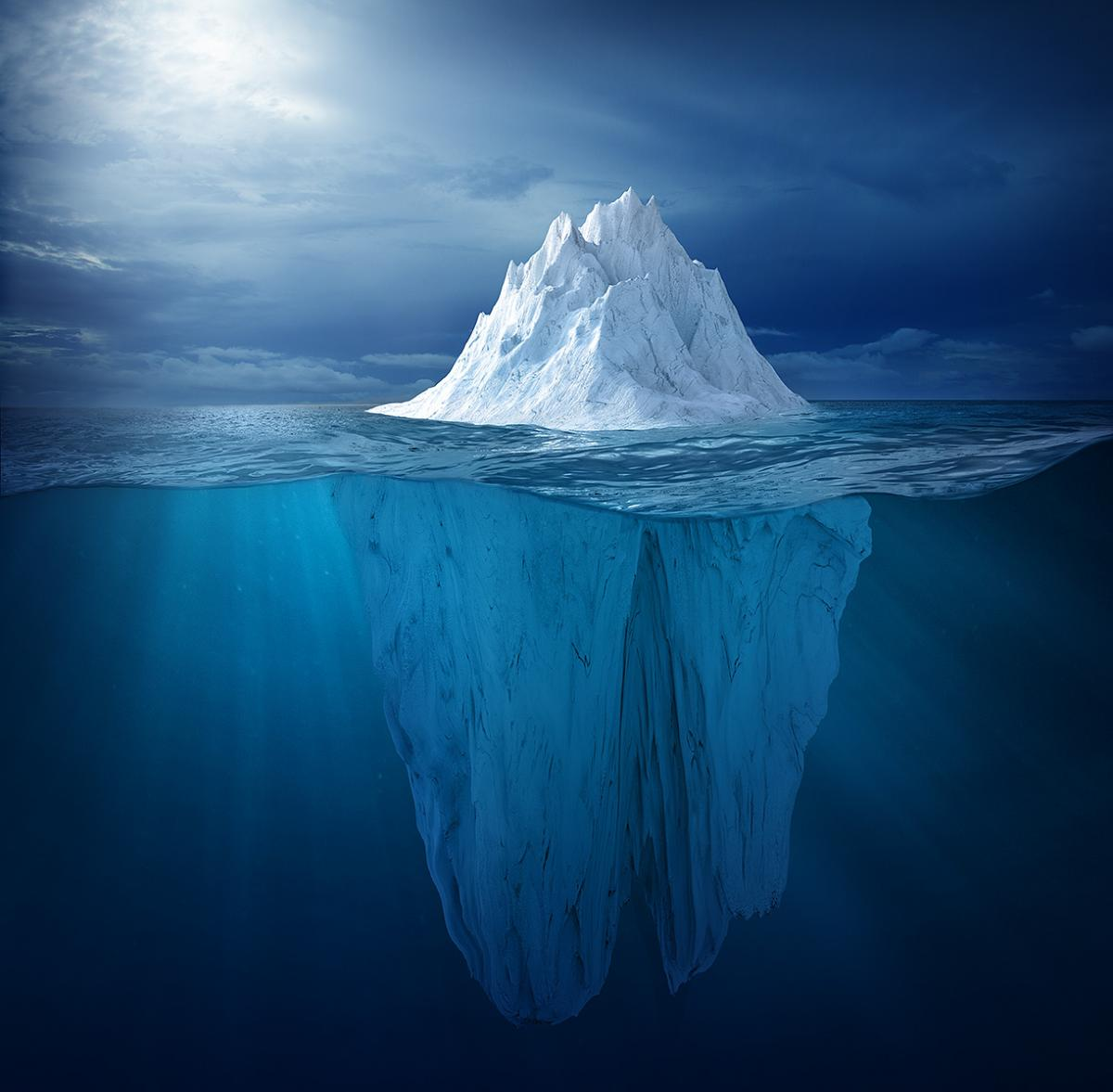 Iceberg floating in sea