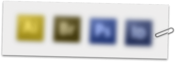 Four adobe application icons blurred with a colour-blindness filter applied