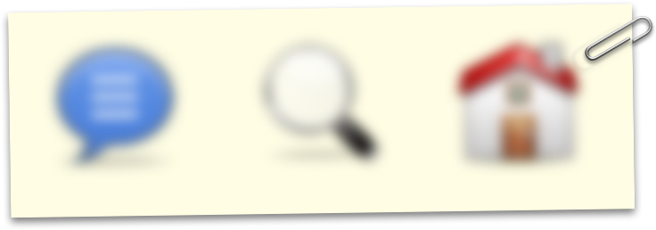 Three icons blurred out, representing low-vision. The icons represent 'comments', 'search' and 'home'