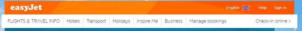 easyjet website navigation