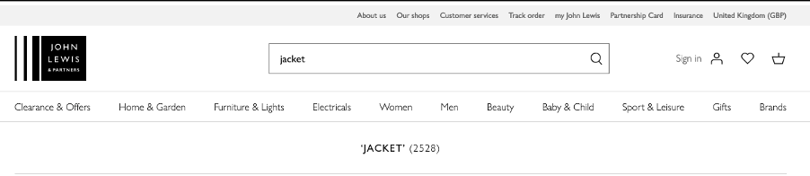 The John Lewis website header showing a search bar with the word 'Jacket' visible