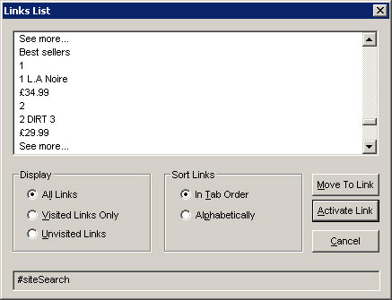 Jaws link dialog box showing a list of poor link text such as 'See More', '1', and '2 Dirt 3'