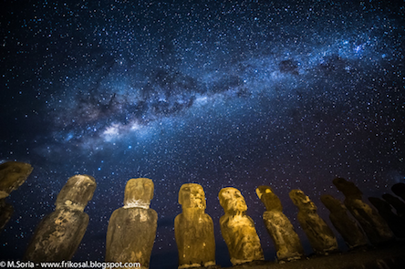 A night time image showing showing part of the Milky Way above statues on Easter Island