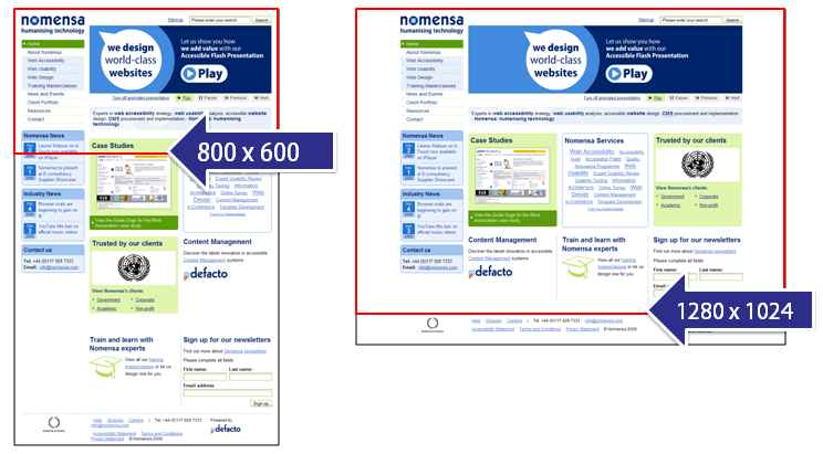 Two screen shots highlighting that a large resolution screen can show almost all the nomensa homepage, but a smaller one has over 3 screens worth of scrolling.