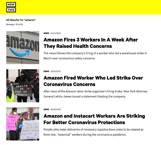Screengrab showing results listed from a search for the word 'Amazon'. The page shows 3 results - all of which include an image, published date, teaser text and larger headline