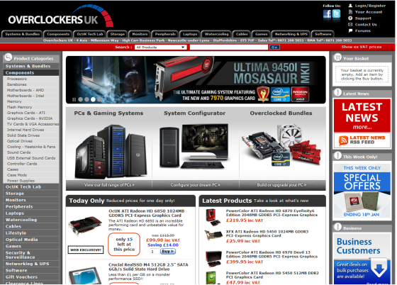 Screenshot of overclockers.co.uk, with duplicate navigation systems and more banners than you can shake a stick at.